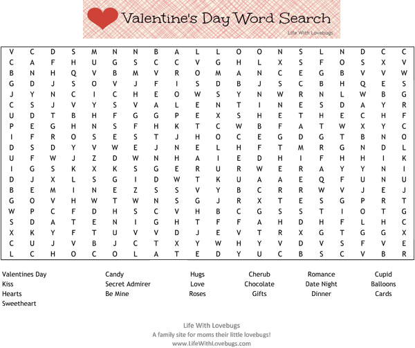 photo about Valentine Day Word Search Printable identified as Valentines Working day Term Glance Printable - Daily life With Lovebugs